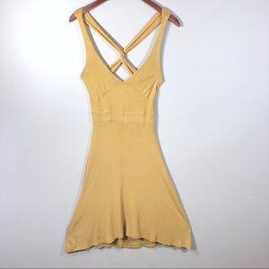 Woman's cross back dress size medium mustard color